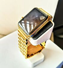 24k Gold Plated Apple Watch Series 2 42mm Link Bracelet Stainless Steel 24ct