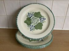 Poole Handpainted Pottery Vineyard Grapes - 4 x 22.5 cm Salad Plates