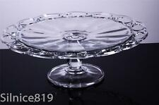 "Vintage EAPG Glass Cake Stand Plate Pedestal 12"" open lace edge rim Imperial"