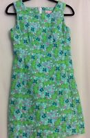 Lilly Pulitzer Sheath Dress Turquoise Alberta Gator Sz 2 EUC HTF