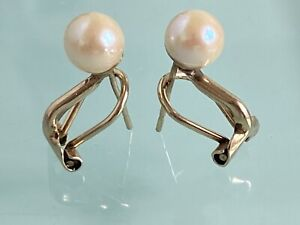 9ct Gold Omega Clasp Pearl Stud Earrings