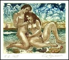 David Bekker 1999 Exlibris C4 Erotic Erotik Nude Woman Sex Bird Grapes 695