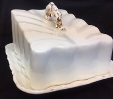 ANTIQUE  LARGE WHITE PORCELAIN COVERED CHEESE DISH