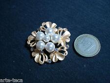 spilla metallo perle strass cristallo fiore dorato regalo bigiotteria affare
