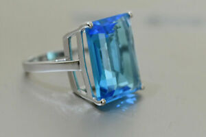 21 Ct Large Emerald Blue Topaz Womens Basket Ring 14k White Fold Plated Silver