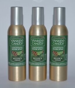 3 YANKEE CANDLE BALSAM CEDAR CONCENTRATED ROOM SPRAY PERFUME AIR FRESHENER CAN