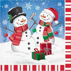 Candy Cane Snowman Lunch Paper Napkins 16 Pack Winter Party Tableware Supplies