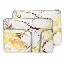 "13-Inch Marble White/Gold Handy Zipper Sleeve w./Pockets for 13"" Laptop /Macbook"