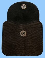 New MENS GENUINE BLACK BEAVER TAIL LEATHER-CHANGE POUCH-COIN PURSE-WALLET INSERT