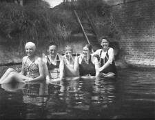 2 small photo negatives - Five Fearless Ladies braving outdoor pool or river.