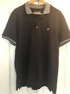 Lyle & Scott, Polo Shirt In Navy, Knitted Collar And Trims, XL, 42 Cms Chest