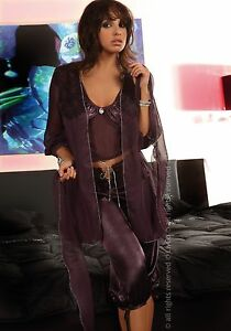 LIVCO CORSETTI Jasmine Luxury Sheer Robe, Cami Top and Matching Crop Bottoms Set