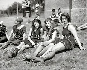 Vintage Flapper 4 Women Swimsuits Photo early 1920s Flappers Jazz Prohibition