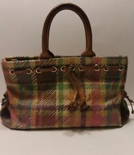 Dooney & Bourke Multi Color Plaid Print Coated Canvas Dual Handle Satchel Purse