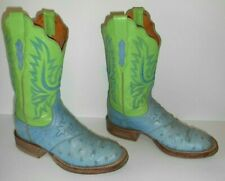 7 B Lucchese 2000 Lt Blue & Green Full Quill Ostrich Leather Sole Cowboy Boots