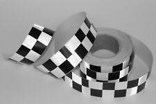25m 5cm Warntafel Aufkleber schwarz weiß Reflektor Band Waben Schach Karo Taxi