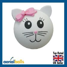 Cute White Cat Kitten Kitty Car Aerial Topper Ball Antenna