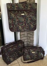 Jordache Luggage Set 3 pc Garment Bag Carry-on Tote Bag Tapestry Burgundy XLNT