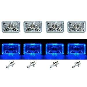 "4X6"" Blue LED Halo Angel Eye Halogen Headlights Headlamp Bulbs Crystal Clear Set"