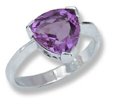 18k White Gold Woman's Ring Trillion Cut Amethyst AAA