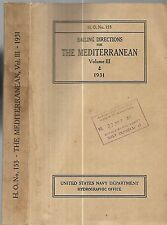 The Mediterranean. Sailing Directions for 1931. G.P.O. map.