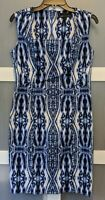 Anne Klein Women's Stretch Blue and White Ikat Dress - Size 8