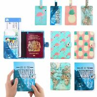 PU Leather Travel Passport Holder Cute Blocking ID Cards Case Cover Luggage Tags