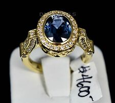 Stunning 18K Yellow Gold Fine 3.59 Carat Oval SAPPHIRE Diamond Ring AMAZING
