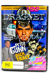 Dragnet Peter Gunn-Dick Tracy 3 Discs 10 Episodes -DVD Series Comedy New