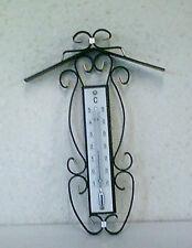 OVP Wetterfestes Robustes Schmiedeeisen Innen-Außen Thermometer mit Dach, 19 cm,
