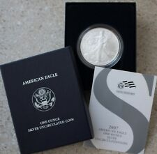 2007 W BU American Silver Eagle Dollar Burnished ASE Coin with Box and COA
