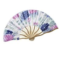 2X(Chinese Peony Printing Fabric Cloth Bamboo Hand Foldable Fan H6Y6)