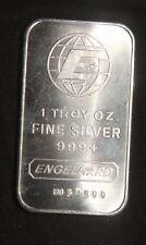 ENGELHARD PORTRAIT 1 OZ .999+ SILVER BAR   ID-EI-09V    SN=FI57500 LOT 230322