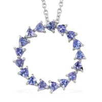 "Platinum Over Sterling Silver Blue Tanzanite Necklace Pendant Size 20"" Ct 1.75"