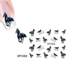 Nail-Art Sticker Water Transfer Stickers Black Horse Decals Tips Decoration LU