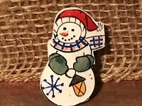 Recycled Porcelain Jewelry, Holiday Collection, Snowman Brooch