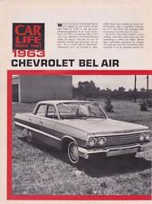 1963 CHEVROLET BEL AIR 230/140HP - RARE ORIGINAL 6-PAGE ROAD TEST  ARTICLE / AD