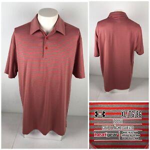 Under Armour Mens XL Polo Shirt Striped Orange Gray NCAA EUC