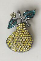 Vintage style Pear Brooch Pendant enamel on  metal