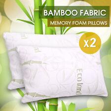 2 x ECO LAND Luxury Bamboo Pillow Memory Foam Fabric Fibre Cover 70 x 40 cm
