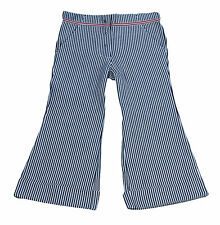 JACADI Girl's Mesure Navy/White Striped Flared Trousers Size 4 Years $64 NWT