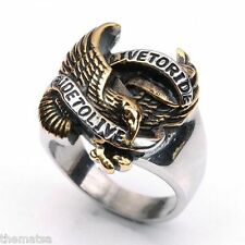 LIVE TO RIDE BRONZE SILVER BIKER  STAINLESS STEEL RING SIZE 8 9 10 11 12 13