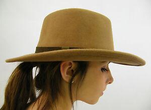 New Men's Crushable Genuine Wool Felt Fedora Bush Sun Hat Light Brown S M L XL