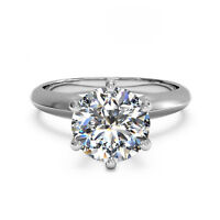 14K Solid White Gold 2.00 Ct Round Bridal Moissanite Engagement Ring Size N O
