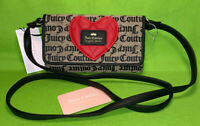 NEW JUICY COUTURE HEART BREAKER MINI CROSSBODY BAG/WALLET BEIGE/BLACK GOTHIC