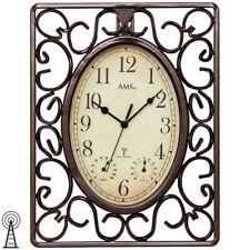 AMS 5976 Wanduhr Funk Funkwanduhr braun eckig antik vintage retro Thermometer