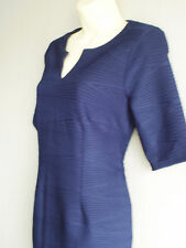 Fully Lined Ribbed Fabric Fitted Navy Blue Tailored Shift Dress Size 12 NEW (£42
