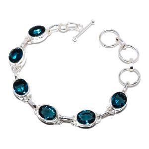 "Blue Sapphire Gemstone 925 Sterling Silver Tennis Bracelet 7.99"" S1913"