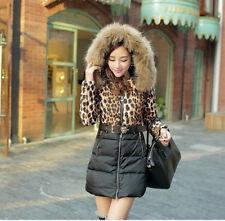 Chic Women Casual Fur Collar Winter Hooded Outwear Long Jacket Coat Leopard XL