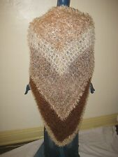 New Lg Hand Crochet Brown's Fun Fur Eye Lash Yarn Shawl Wrap Blanket Soft Boho